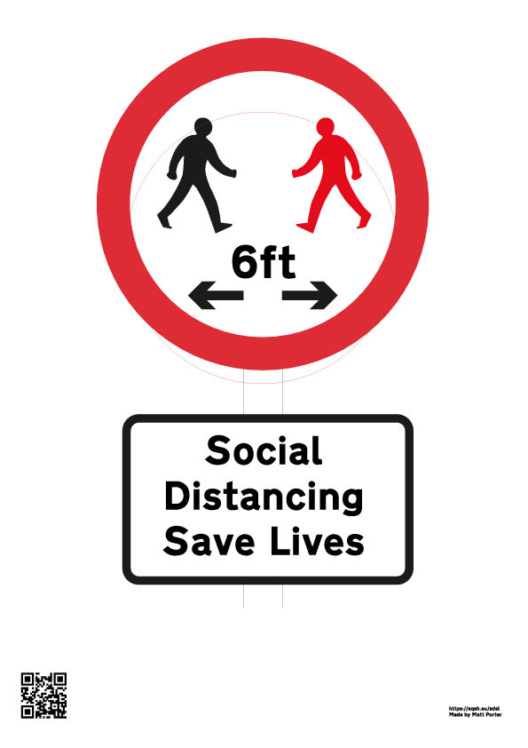 Free Social Distancing Signs - Downloadable Sign - US Version - 6 feet / 6ft - Social Distancing Saves Lives A4 PDF