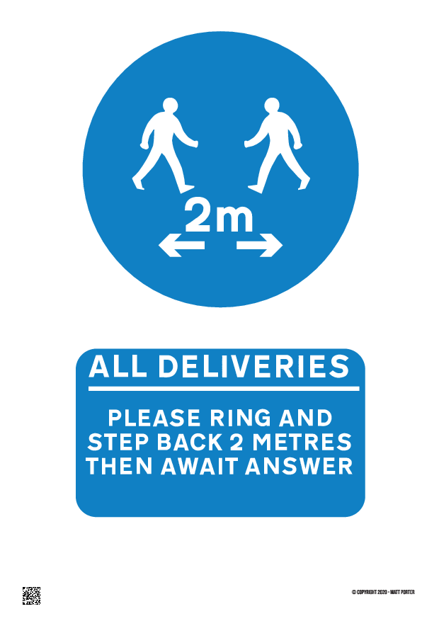 All Deliveries Please Ring and Step Back 2M in Blue