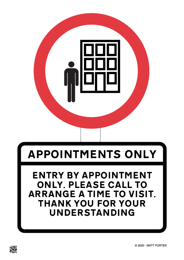 Social Distancing - Entry by Appointment Only - Free Downloadable Sign / Poster