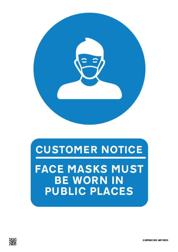 Customer Notice Face Masks Must Be Worn in Public Places Free Printable PDF Sign or Poster Blue