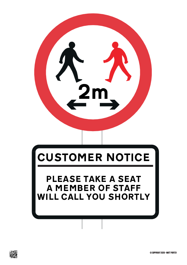 Social Distancing Customer Information Sign
