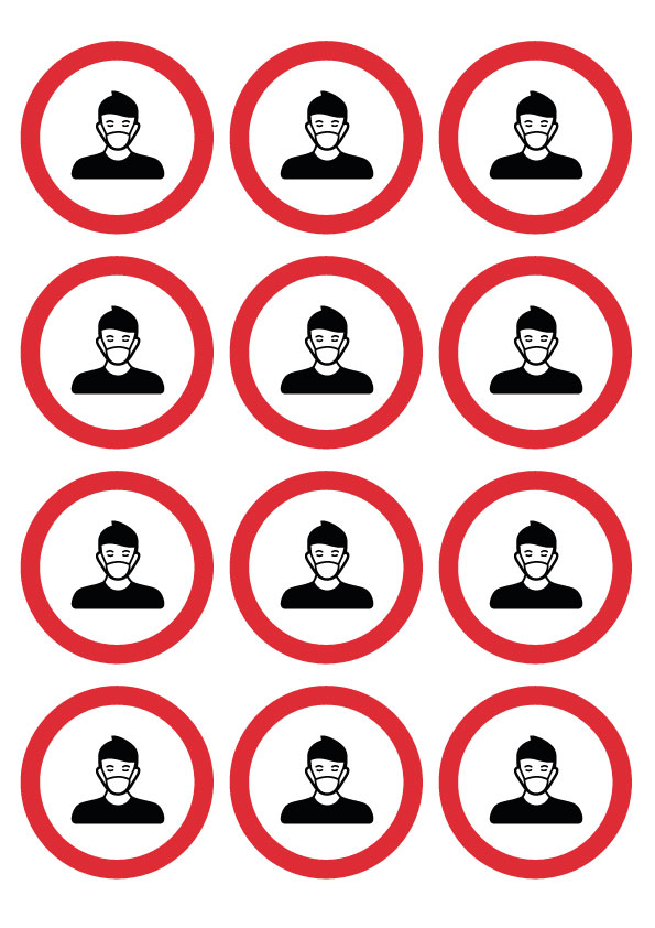 64mm Social Distancing Wear a Face Covering - Round Stickers