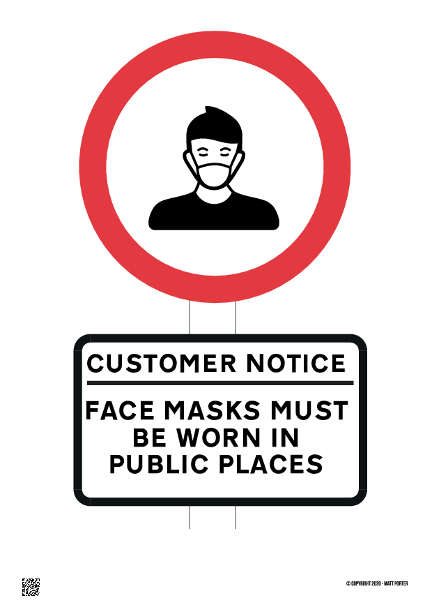 Customer Notice Face Masks Must Be Worn in Public Places Free Printable PDF Sign or Poster