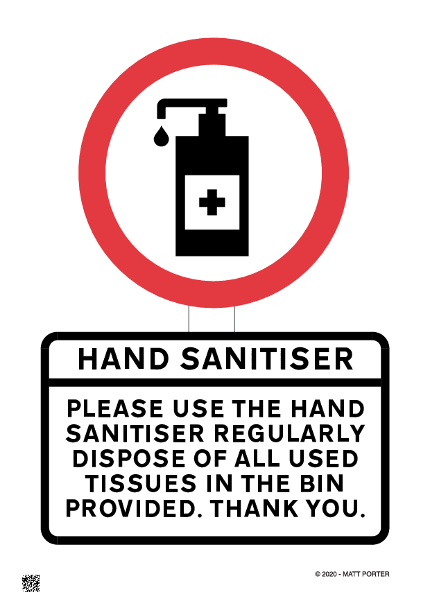 Social Distancing - Please Use Hand Santiser - Free Downloadable Sign / Poster