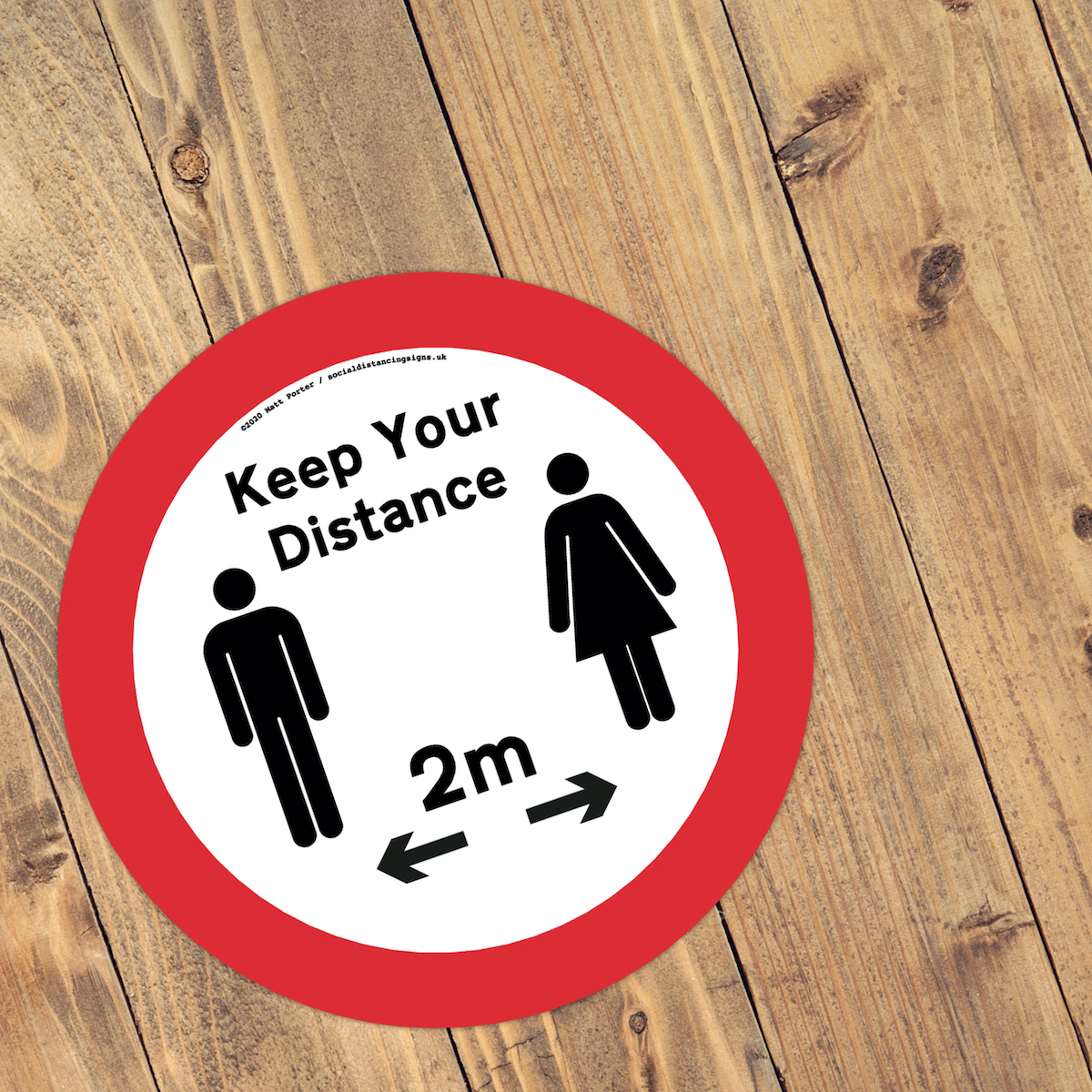 Keep Your Distance - Social Distancing Anti-Slip Floor Stickers (300mm) - Males and Female
