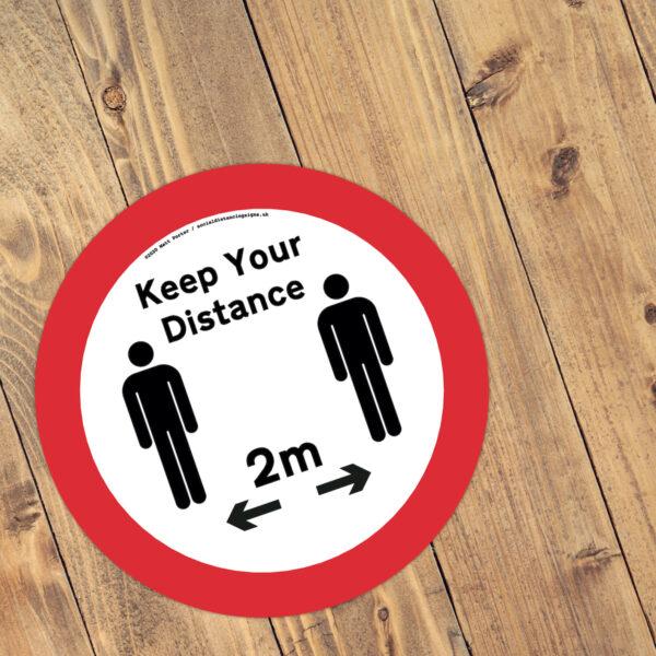 Keep Your Distance Non-Slip Floor Sticker (300mm)