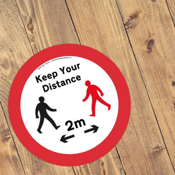 Keep Your Distance - Social Distancing Anti-Slip Floor Stickers (300mm) - Black and Red Figure