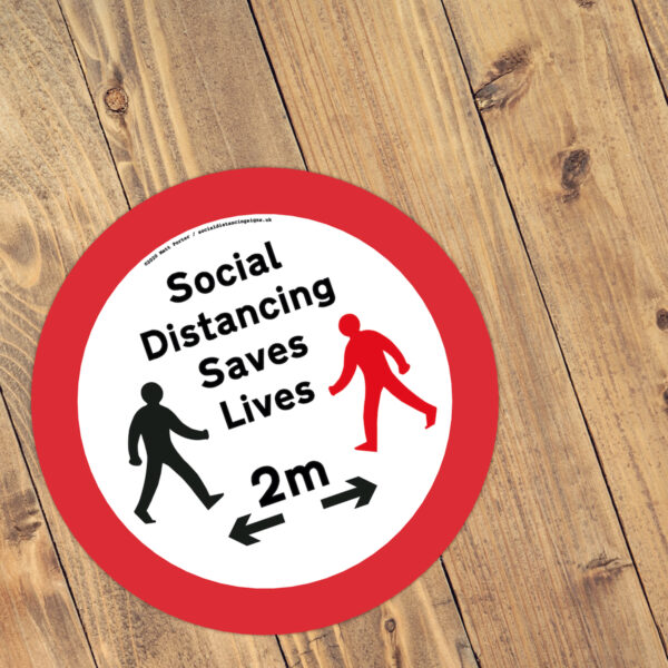 Social Distancing Saves Lives - Social Distance Anti-Slip Floor Stickers (300mm)