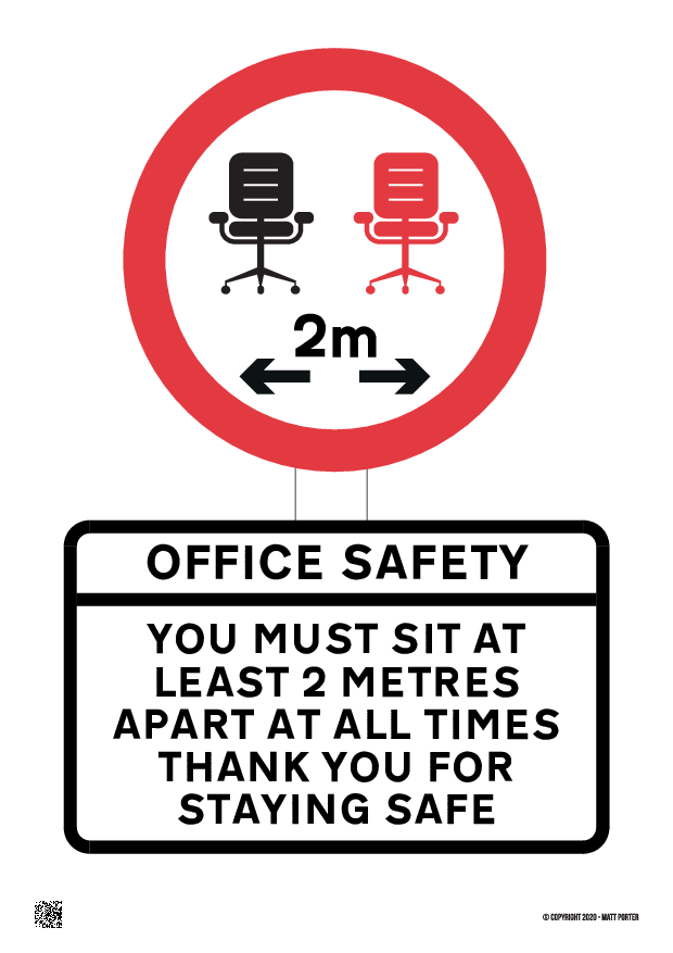 Covid-19 - Social Distancing Office Seating Custom Poster / Sign