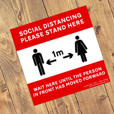 Keep Your Distance - Social Distancing Anti Slip Square Floor Stickers (300mm x 300mm)