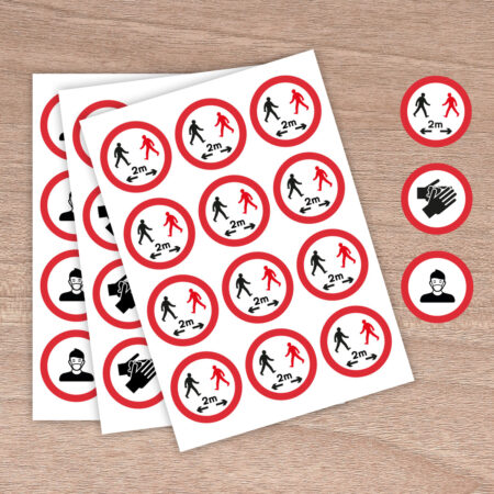 64mm Social Distancing 2m Rule - Round Stickers