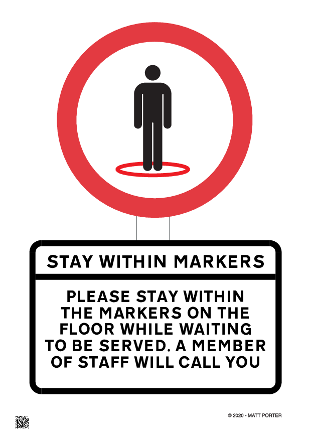 Social Distancing - Stay within Marker - Free Downloadable Sign / Poster