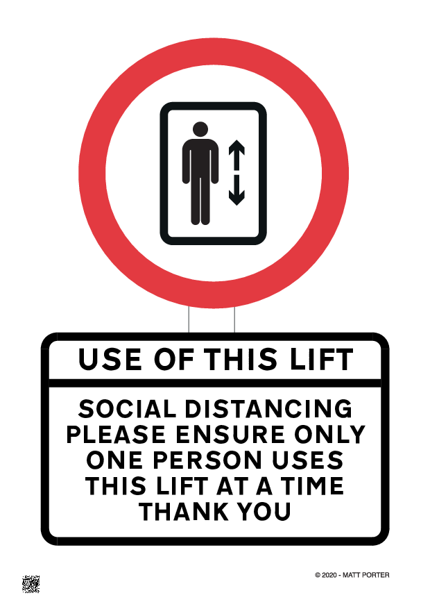 Social Distancing - Use of Lift / Elevator - Free Downloadable Sign / Poster