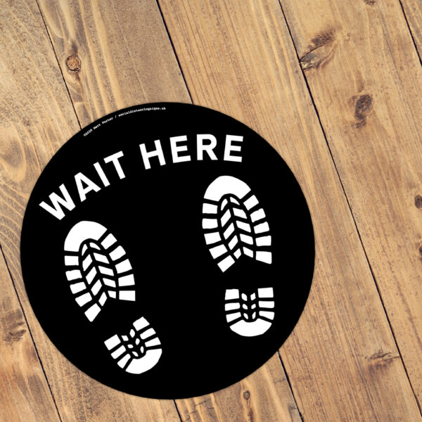 Stand Here! - Social Distancing Anti-Slip Floor Stickers (300mm) - 10 Pack - Black with White