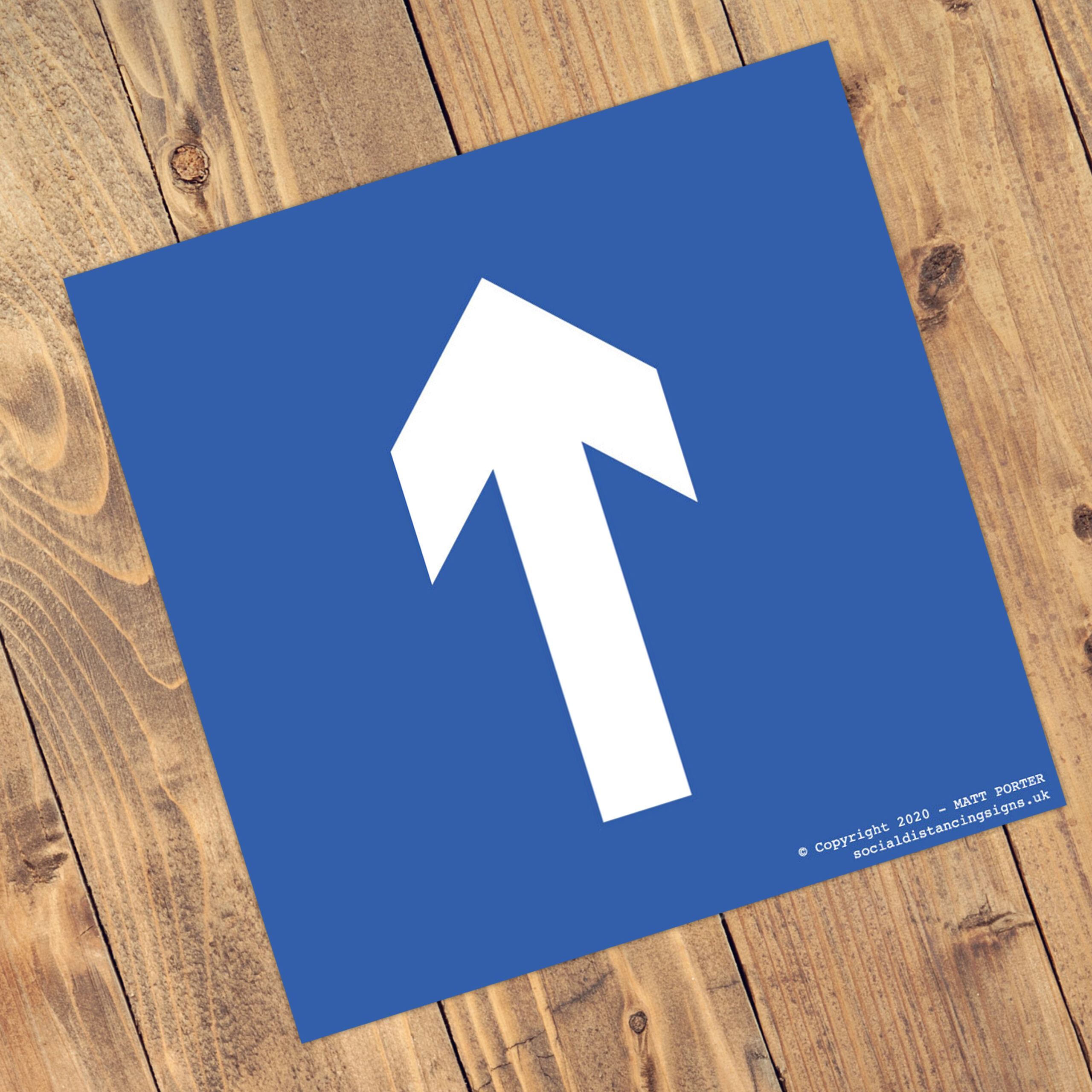 "Social Distancing Square Anti-Slip Floor ""Blue"" Arrow Stickers (300mm x 300mm) - 10 Pack"