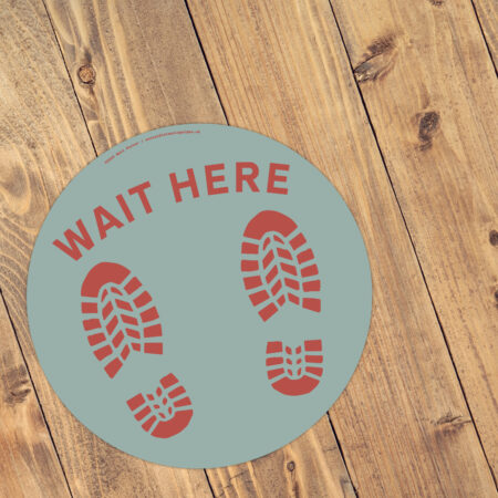 Stand Here! - Social Distancing Anti-Slip Floor Stickers (300mm) - 10 Pack - Duck Egg Blue and Brown