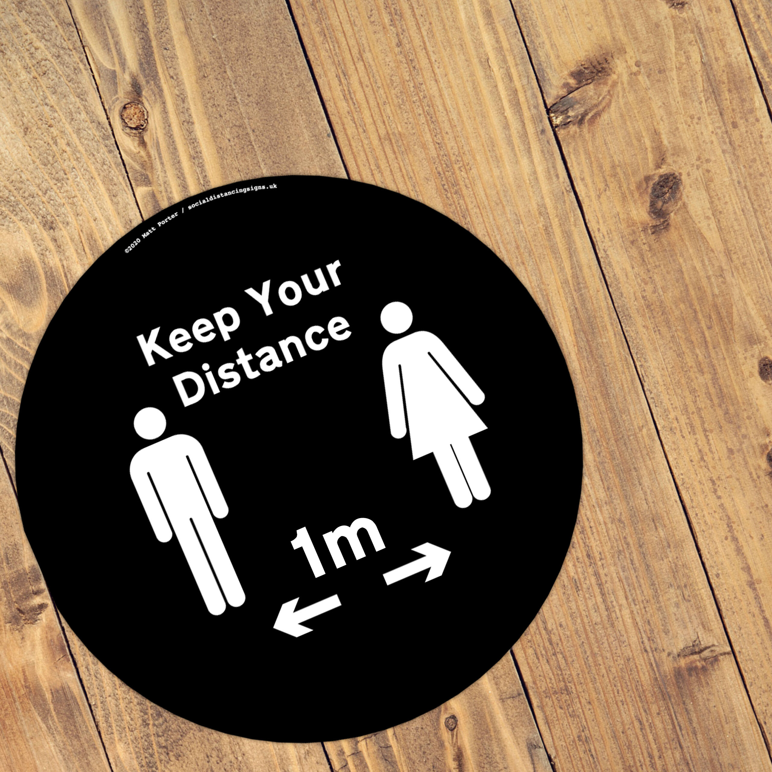 Black Social Distancing Anti Slip Floor Stickers (300mm x 300mm)