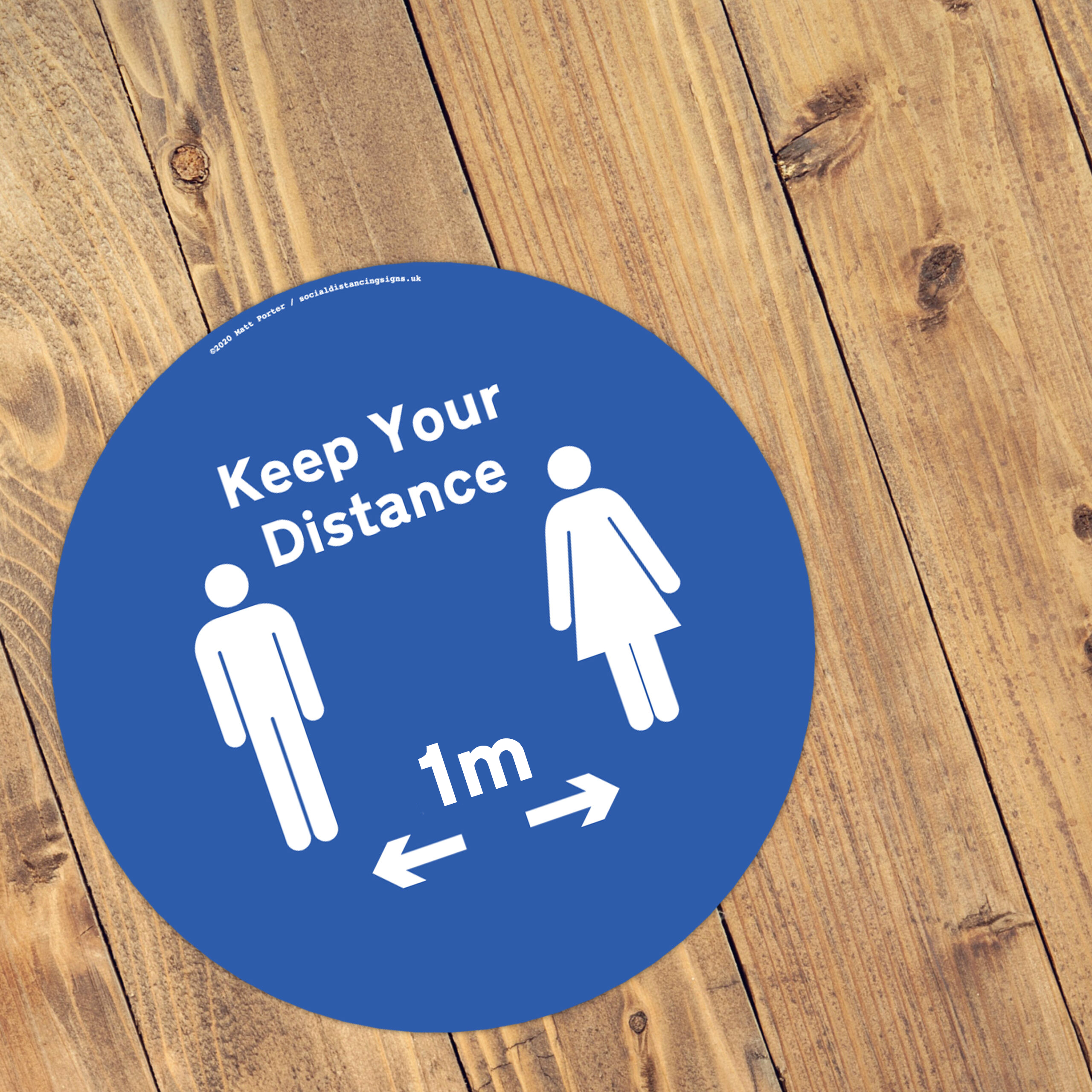Keep Your Distance - Social Distancing Anti-Slip Floor Stickers (300mm) - 10 Pack - Blue