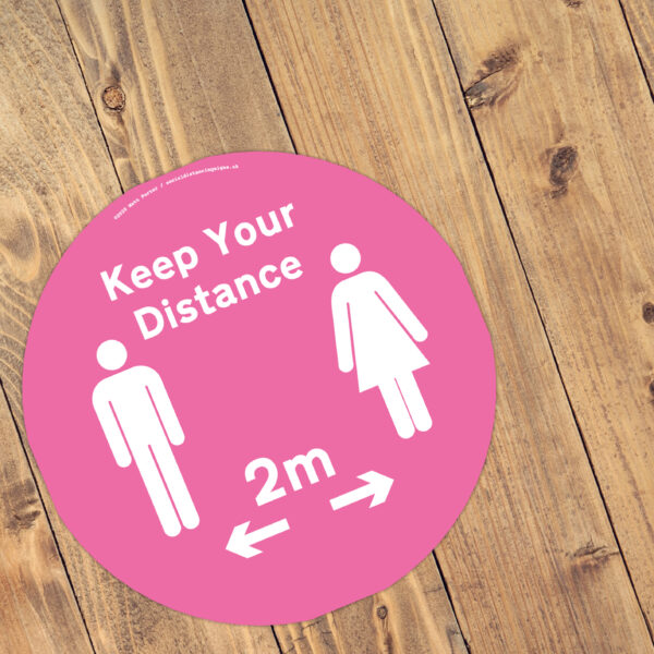 Hot Pink - Social Distancing Floor Stickers 300 x 300 Anti Slip