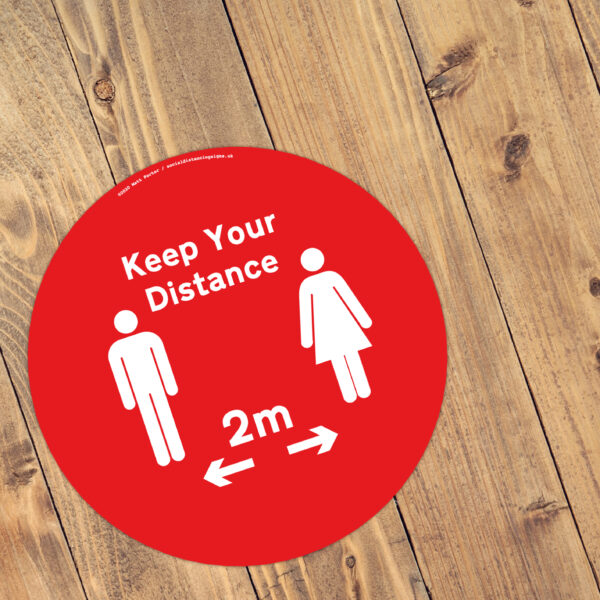 Keep Your Distance - Social Distancing Anti-Slip Floor Stickers (300mm) - 10 Pack - Red / White
