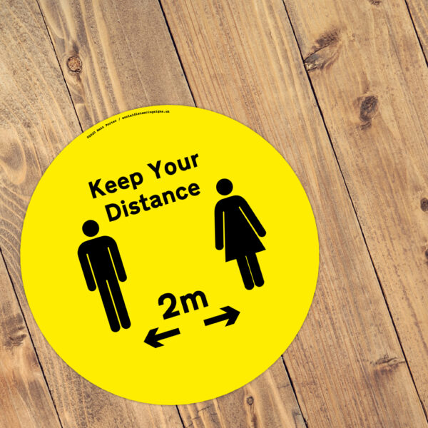 Keep Your Distance - Social Distancing Anti-Slip Floor Stickers (300mm) - 10 Pack - Yellow