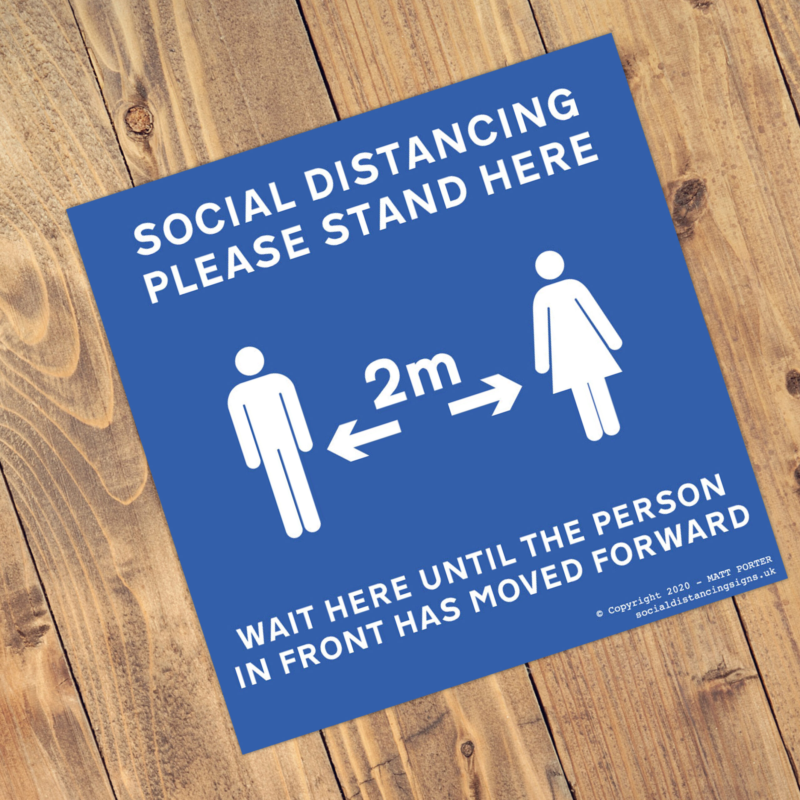 Social Distancing Blue Square Anti-Slip Floor Arrow Stickers (300mm x 300mm) - 10 Pack