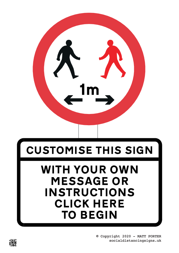 Large Customisable and Downloadable Covid19 Warning - Free Downloadable Sign or Purchase Online - Available in 1m, 2m or choose your own