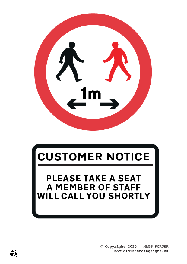 Social Distancing Customer Information Sign - now with 1m, one metre or 1 meter warning