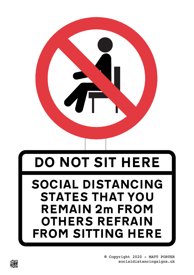 Covid-19 - Do Not Sit in this Seat or Chair Custom Poster / Sign Version 2