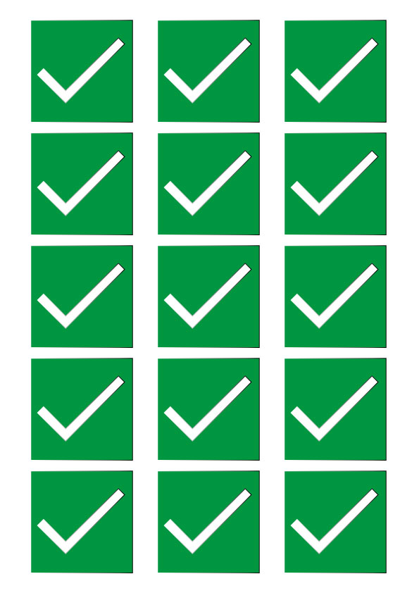 "51mm ""Sit Here"" - Green Tick - Square Stickers"