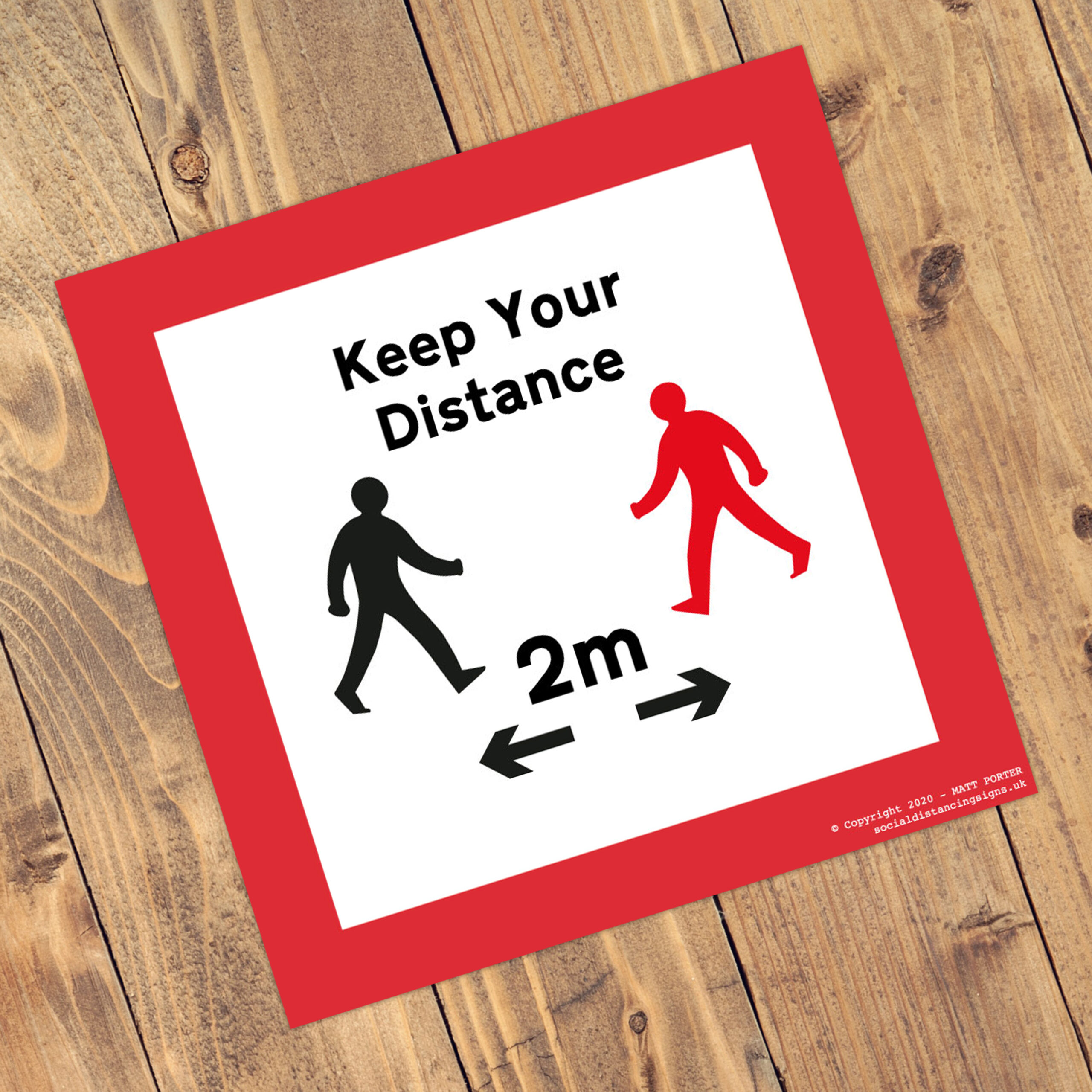 Social Distancing Square Anti-Slip Floor 'Keep Your Distance' Stickers (300mm x 300mm)