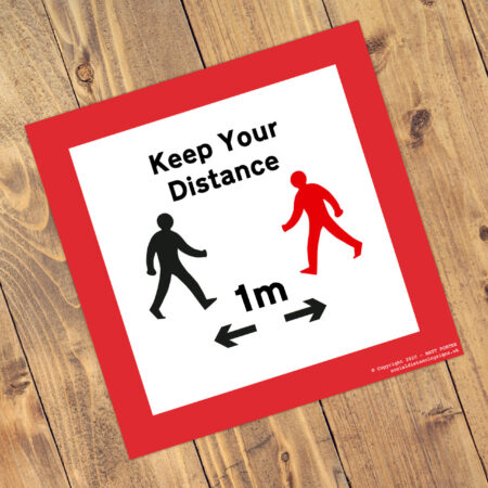 Social Distancing Square Anti-Slip Floor Keep Your Distance Stickers (300mm x 300mm) - 10 Pack