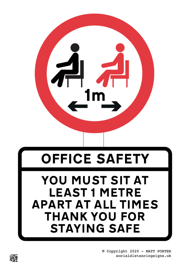 Covid-19 - Please sit 1 Metre Apart Poster / Sign Version 2