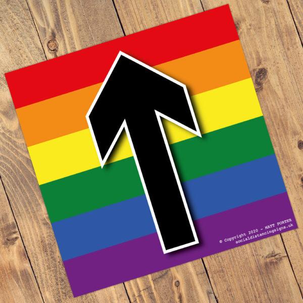 "Social Distancing ""Pride"" Square Anti-Slip Floor 'Arrow' Stickers - (300mm x 300mm) - 10 Pack"