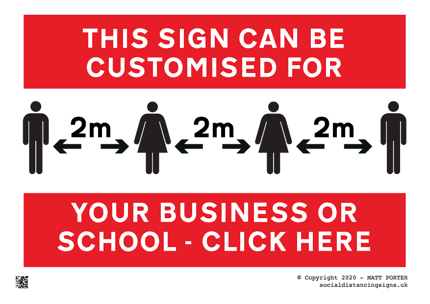 Social DIstancing in Operation - Please maintain a distance of 2 metres from others Sign