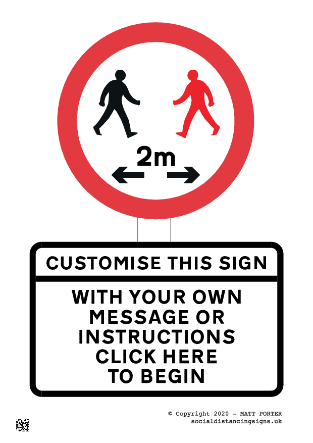 Large Customisable and Downloadable Covid19 Warning Signs
