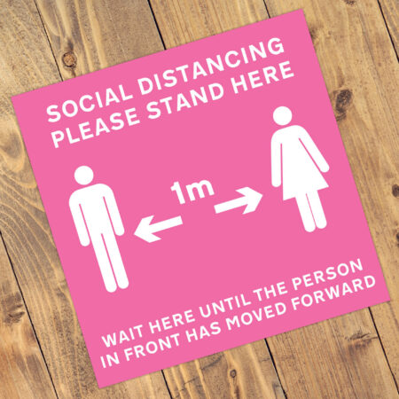 "Social Distancing ""Hot Pink"" Square Anti-Slip Floor 'Keep Your Distance' Stickers - Ver.2 (300mm x 300mm) - 10 Pack (Copy)"