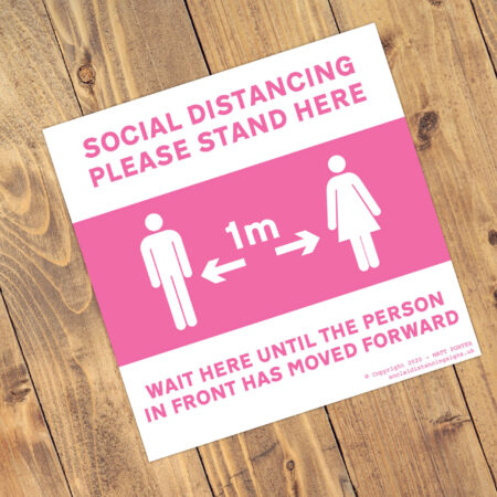 "Social Distancing ""Hot Pink"" Square Anti-Slip Floor 'Keep Your Distance' Stickers (300mm x 300mm) - 10 Pack"