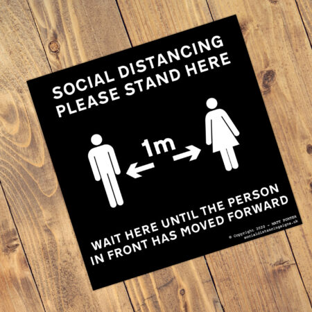 "Social Distancing ""Jet Black"" Square Anti-Slip Floor Arrow Stickers (300mm x 300mm) - 10 Pack"