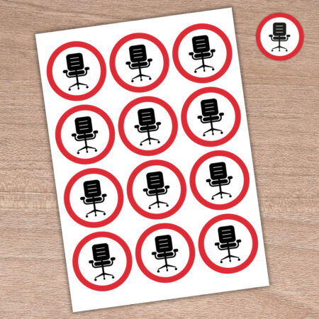 64mm Please Sit Here - Round Stickers