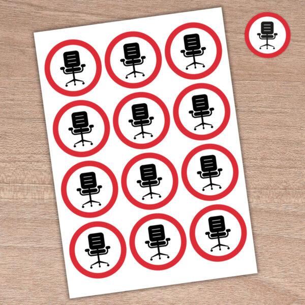 64mm Please Sit Here - Round Stickers