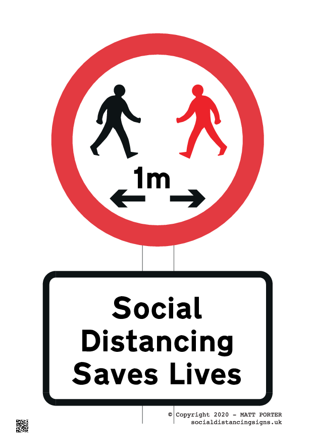 Customisable Social Distancing Saves Lives Free Downloadable Sign, free to download in PDF or purchase online - now available in 1m or 1 metre
