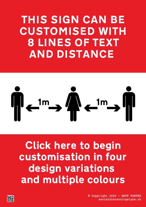 Social Distancing - Queuing Notice with 8 Lines of Text - Printable Sign Maker