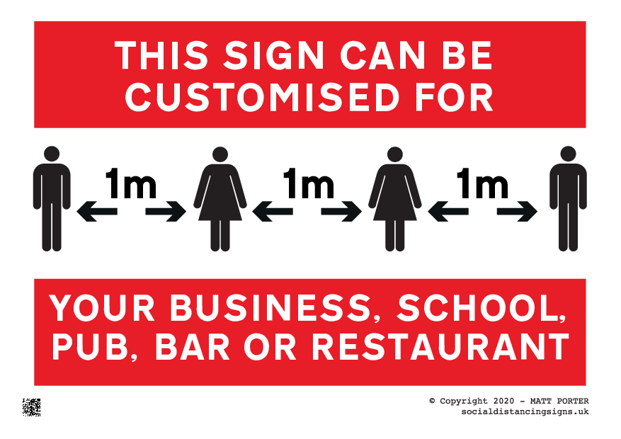 This Sign Can Be Customised for your Business, School, Pub, Bar or Restaurant in 1 metre, 2 metres, 6ft or others