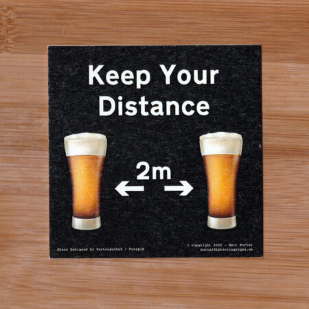 Social Distancing Square Cut Cardboard Coasters (85mm x 85mm) - Black - Beer Glass