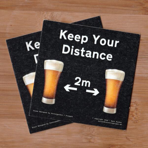 Social Distancing Square Cut Cardboard Coasters (85mm x 85mm) - Black - Beer Glass
