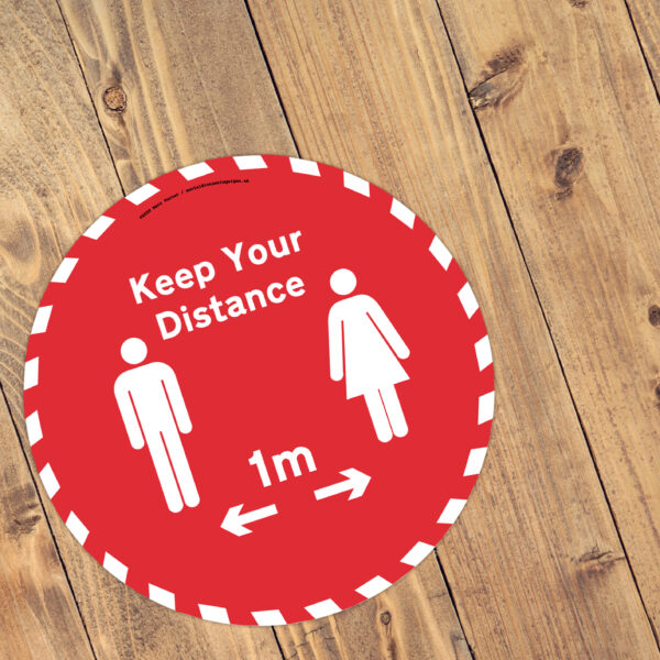Keep Your Distance Red and White Floor Vinyl Sticker 1m