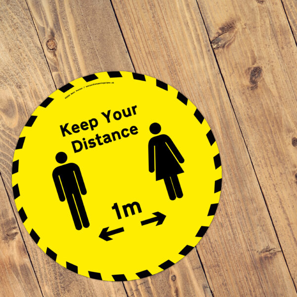 Keep Your Distance Yellow and Black Floor Vinyl Sticker 1m