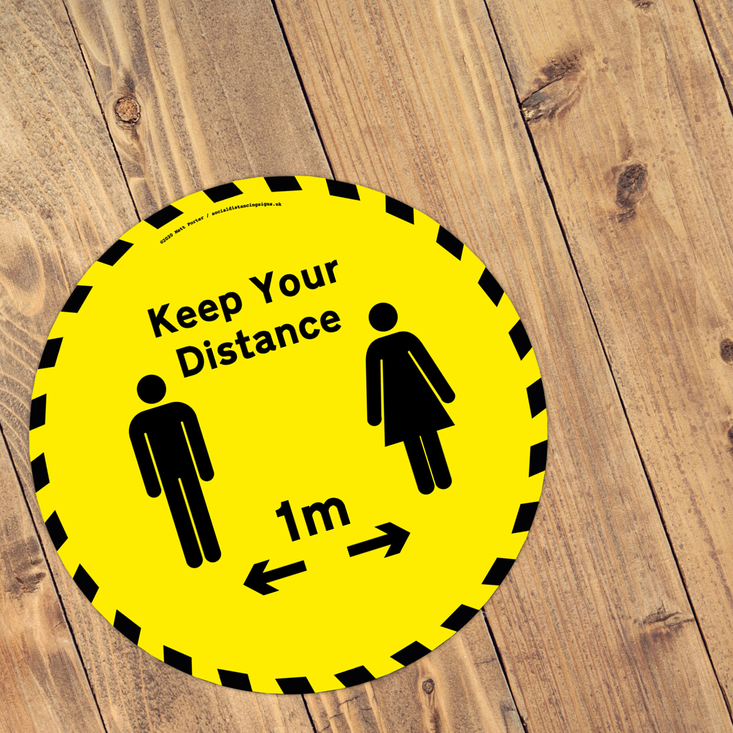 Stand Here! - Social Distancing Anti-Slip Floor Stickers (300mm) - 10 Pack - Yellow Warning!