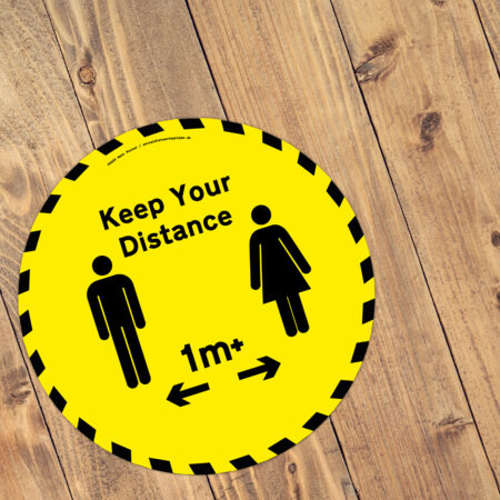 Keep Your Distance Yellow and Black Floor Vinyl Sticker 1m plus